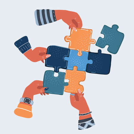 Vector illustration of Four hands make a puzzle. Ilustracja