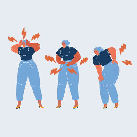 Vector illustration of woman with body pain in different part. Head, back, and stomack. Pms concept.