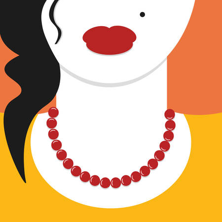 close up woman: Flat design close up woman with red necklace