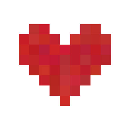 heart love: Red pixel heart Illustration