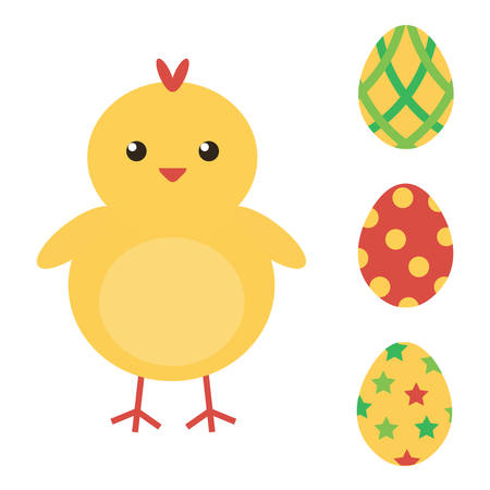 baby chicken: Easter eggs and cute baby chicken. Easter collection. Flat design vector illustration.