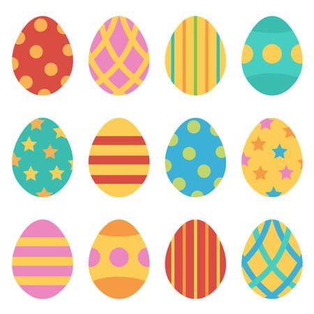 huevos de pascua: Huevos de Pascua sistema, colección aislados sobre fondo blanco. Vectores