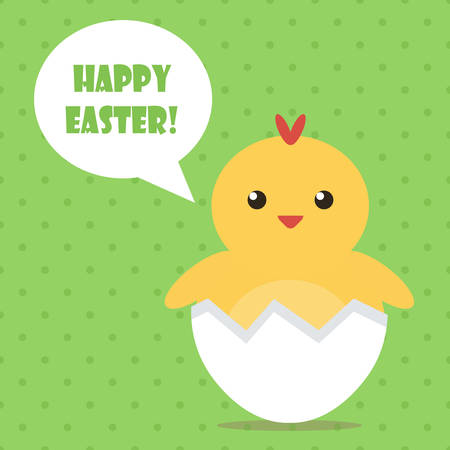 baby chicken: Happy Easter flat design greeting card with cute baby chicken.