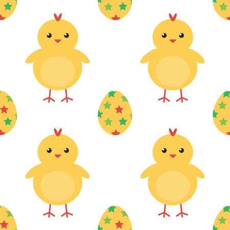baby chicken: Easter eggs and cute baby chicken seamless pattern background.