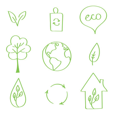 handdrawn: Set of hand-drawn vector eco doodles. Earth day doodles.