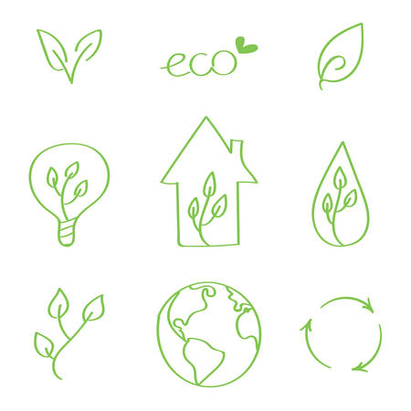 green eco: Set of hand-drawn vector eco doodles. Earth day doodles.