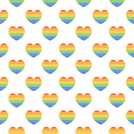 rainbow stripe: LGBT community rainbow hearts seamless pattern background. LGBT stripe heart symbol.