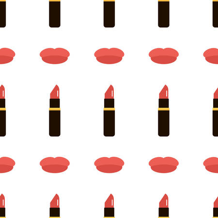 red lipstick: Flat design red lipstick tubes and lips seamless pattern background.