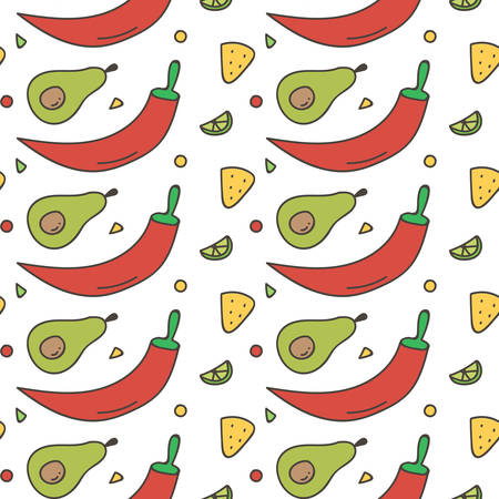 nachos: Colorful Mexican food seamless pattern background. Hot chili pepper, avocado, nachos and lime background.