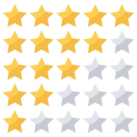 yellow star: Stars rating isolated on white background. Illustration