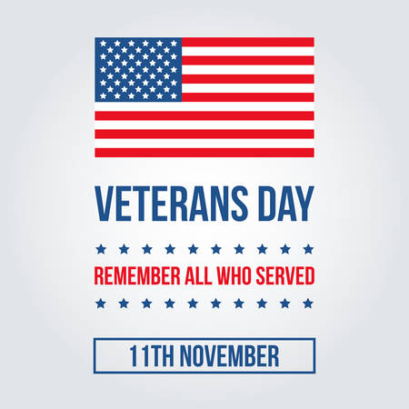 flag template: Veterans Day card with american flag template, background.