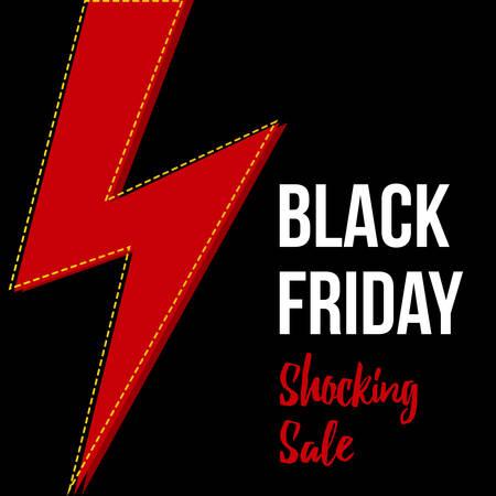 shocking: Black friday shocking sale card, flat design modern banner template.