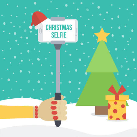 Woman holding selfie monopod with smartphone in front of christmas winter background with fir and gift box. Flat design  illustration.