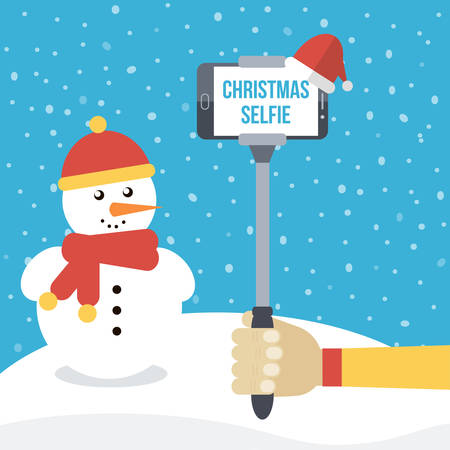 Man holding selfie monopod with smartphone in front of christmas winter background with snowman. Flat design vector illustration.
