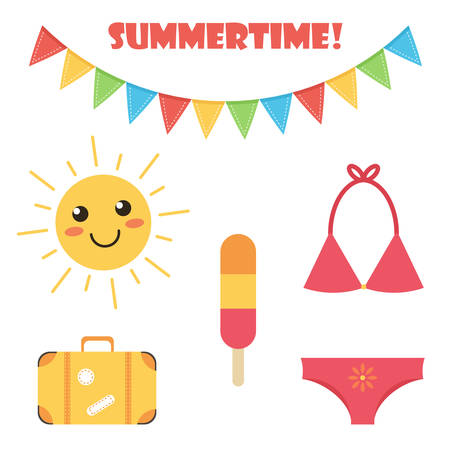 sun cream: Cute and colorful flat design summer set isolated on white background. Illustration