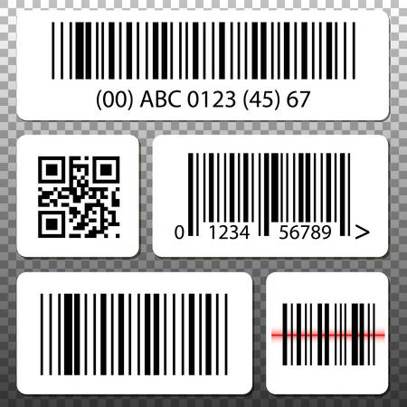 quick response code: Barcode and QR code stickers template set, collection on transparent background.