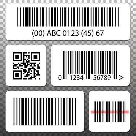 Set di modelli di codici a barre e codici QR adesivi, raccolta su sfondo trasparente.