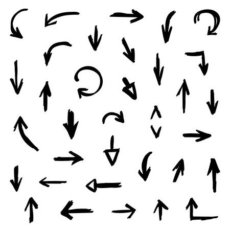 pen and marker: Set, collection of black hand drawn grunge arrows isolated on white background.