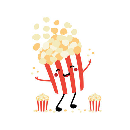 Cute cartoon style popcorn bucket character smiling, having fun, throwing up popcorn flakes in the air.