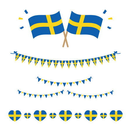 Set, collection of flags, borders and garlands for Flag Day in Sweden and for other national holidays.