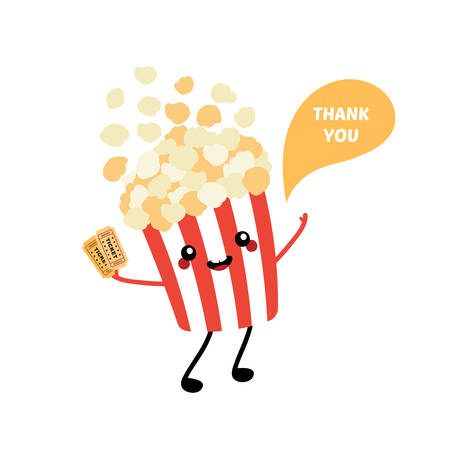 Cute cartoon style popcorn bucket smiling character with two cinema tickets, saying thank you, showing appreciation.