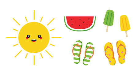 Set, collection of colorful cartoon icon for summer design. Cute shining sun character, slice of watermelon, ice cream and flip flops.