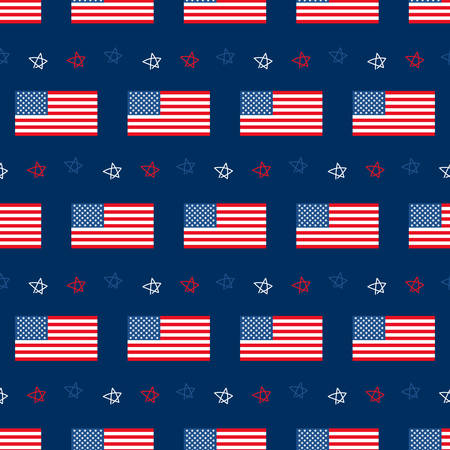 USA flags and doodle stars vector seamless pattern background for fourth of july celebration and other national american holidays.