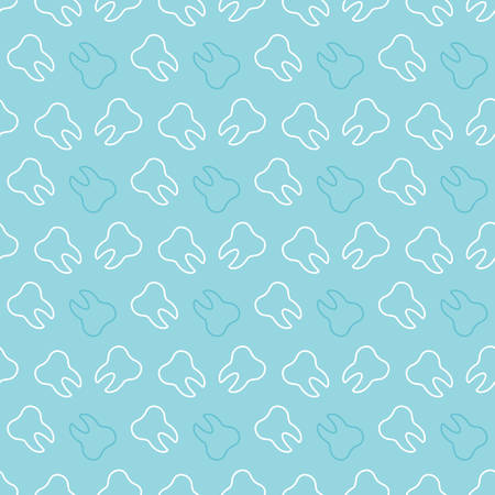 Cute seamless pattern background with white outlined teeth for dental, oral care medicine design.