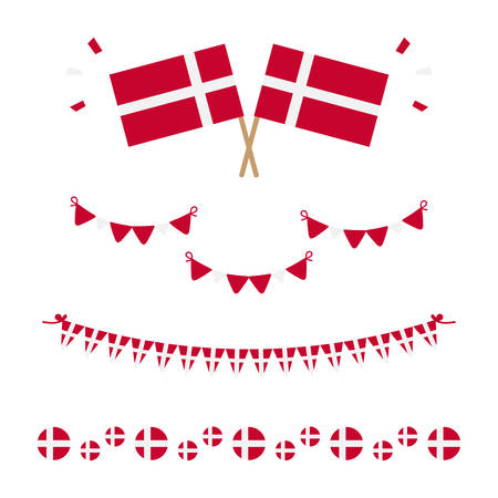 Set, collection of flags, borders and garlands for Flag Day in Denmark and other danish national holidays.