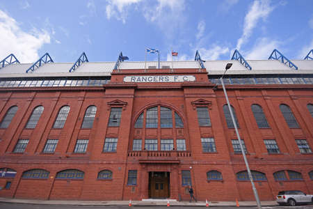 GLASGOW, SCOTLAND - JULY 18, 2019: Outside view of the venue seen ahead of the 2nd leg of the 2019/20 UEFA Europa League First Qualifying Round game between Rangers FC (Scotland) and St Joseph's FC (Gibraltar) at Ibrox Park.