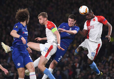 LONDON, ENGLAND - APRIL 18, 2019: Tomas Soucek of Slavia (L), Andreas Christensen of Chelsea (C) and Simon Deli of Slavia (R) pictured during the second leg of the 2018/19 UEFA Europa League Quarter-Finals game between Chelsea FC (England) and SK Slavia P
