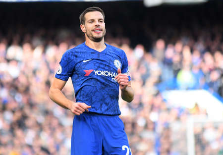 LONDON, ENGLAND - FEBRUARY 22, 2020: Cesar Azpilicueta of Chelsea pictured during the 2019/20 Premier League game between Chelsea FC and Tottenham Hotspur FC at Stamford Bridge. Editorial