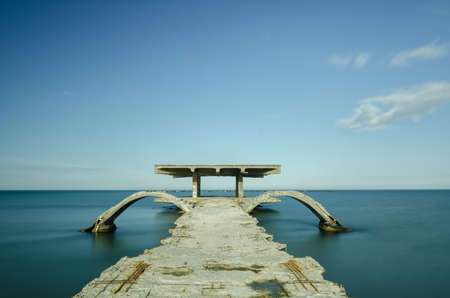 pontoon: Abandoned pontoon at the seaside