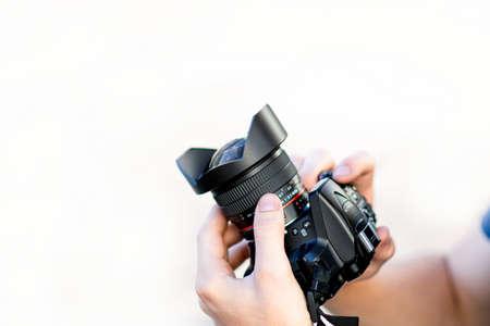 modern dslr camera with wide lens Imagens