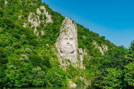 Decebal Head Sculpted in Rock, Carved in the Mountains, Esalnita, Danube Gorges (Cazanele Dunarii)