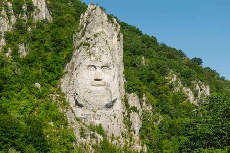 Decebal Head Sculpted in Rock, Carved in the Mountains, Esalnita, Danube Gorges (Cazanele Dunarii)