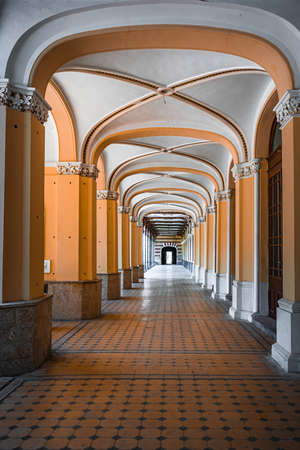 Old pedestrian corridor corridor in Herculane, Romania