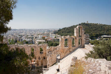 Remaining walls of Dionysos Theater at the Acropolis in Athens, Greece. Stock Photo