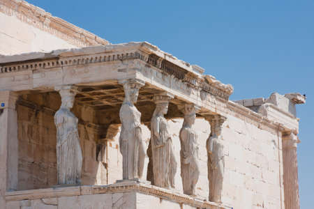caryatids: The Porch of the Caryatids in Athens, Greece. Stock Photo