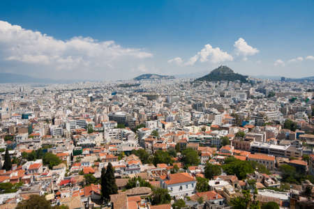 Athens and Lykavitos Hill seen from the Acropolis in Athens, Greece.