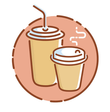 Take away coffee icon, flat design vector illustration
