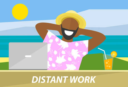 distant work: Happy black man working remotely on a laptop. Distant work, freelance, business freedom concept. Flat design vector illustration