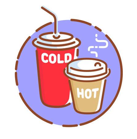 Take away drinks icon, flat design vector illustration