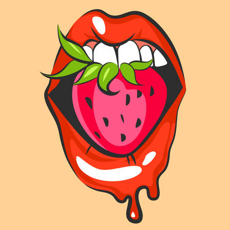 Sexy lips with sweet strawberry. Pop art mouth biting pink berry. Close up view of cartoon mouth. Vector illustration