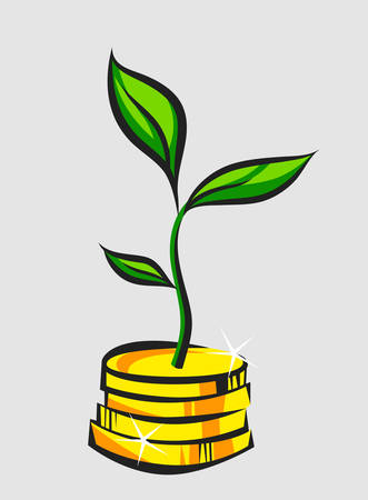 Money tree sprout grows from coins stack, pop art vector illustration Illustration