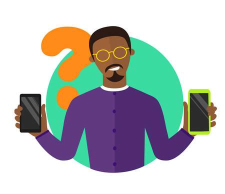 choosing: Mobile selection flat design illustration, black man choosing smartphone, isolated vector sign, synchronization icon
