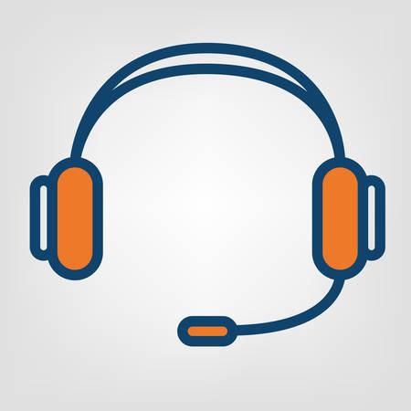 Headphones handsfree icon, call center support vector sign Illustration
