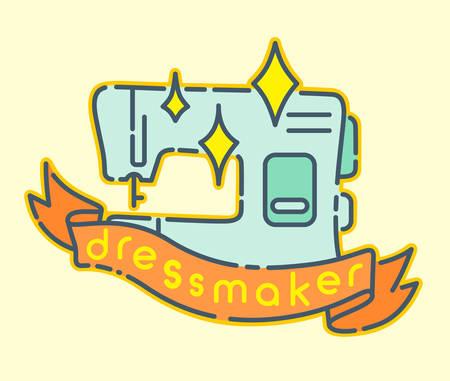 Sewing machine flat design icon, dressmaker badge sign Illustration