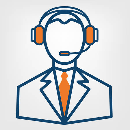 Call center support vector sign, man in handsfree headphones icon Illustration