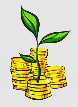 Golden coins stacks with money tree, retro style vector illustration
